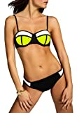 CASPAR BIK005 Damen Bandage Bikini Set, Farbe:neon gelb-weiss/schwarz;Größe:40 L UK12 US10