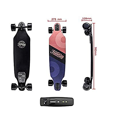 HBMX Elektro-Skieboeboard mit Fernbedienung, Elektro-Longboard mit 10 Layer Maple Colorful Fiber, Double Drive Motor Electric Skateboard, 18KM Range 40km/h Top Speed