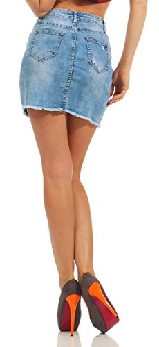 5433 Fashion4Young Damen Jeans Rock Jeansskirt Jeansrock Minirock Denim Streetwear Slim-Fit Blau