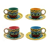 Gall&Zick Set/4 Espressotasse mit Untertasse Mokkatasse Untersetzer Unterteller Tasse Kaffeetasse Teetasse Geschirr Set Keramik Bemalt Bunt