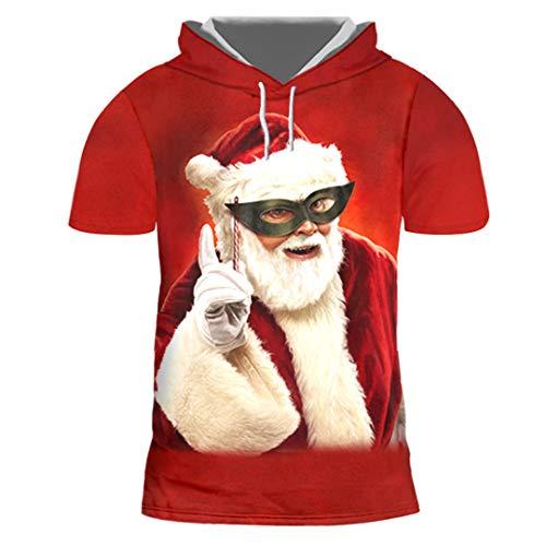 Herren lose rote 3D gedruckte lustige Maske Santa Short Sleeve Hooded T Shirtt Mask Santa Claus 7XL (Beste Halloween-maske Unternehmens)
