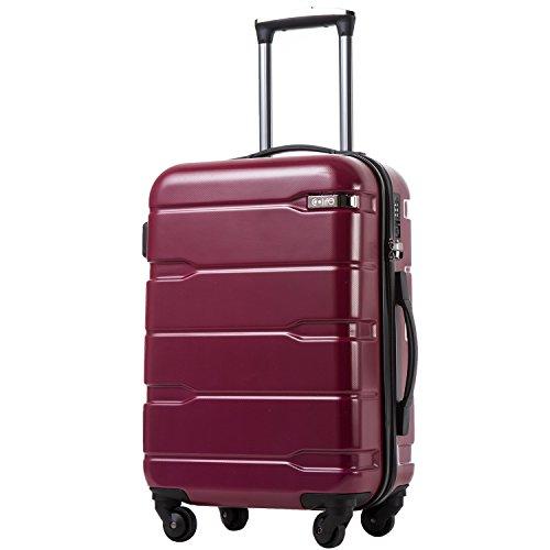 COOLIFE Koffer Reisekoffer Vergrößerbares Gepäck (Nur Großer Koffer Erweiterbar) PC + ABS Material mit TSA-Schloss und 4 Rollen(Radiant Pink, Mittelgroßer Koffer)