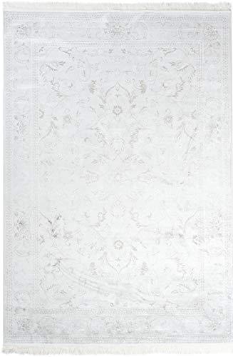 Carpeto Rugs Teppich Orientalisch Kurzflor 100% Viskose Creme 80 x 150 cm S - Viskose-teppich