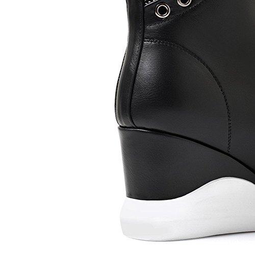 AllhqFashion Damen Reißverschluss Schließen Zehe Hoher Absatz Niedrig Spitze Stiefel Schwarz