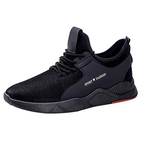 Skxinn Sportschuhe, Herren Straßenlaufschuhe Laufschuhe Lightweight Gym Sneakers Fitness Turnschuhe Mesh Breathable Sport Schuhe,Bequem Soft Bottom Running Shoes Größe 39-44(Schwarz,42 EU)