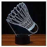 3D Illusion Badminton Lámpara luces de la noche ajustable 7 colores LED Creative Interruptor táctil estéreo visual atmósfera mesa regalo para Navidad