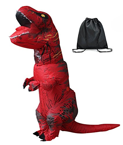 aufblasbare T Rex Dinosaurier-Partei-Kostüm Lustige Kleid rot mit Rucksack und USB-Kabel (Jugendliche Kostüme)