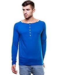 Enquotism Combed Cotton Wide Round neck henley tshirt