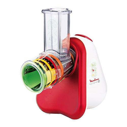 elektro gemueseschneider Moulinex DJ756G Fresh Express Plus Elektrisches Schnitzelwerk Zerkleinerer (200 Watt, 5 Trommelaufsätze)