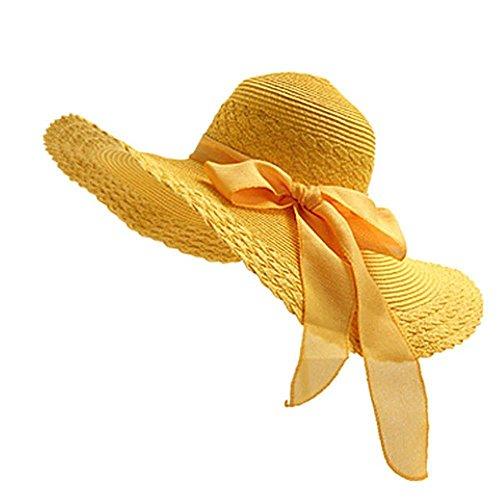Westeng - cappello da sole da donna, tesa larga con protezione uv sole cappello, per viaggi vacanza spiaggia nuoto ciclismo (giallo)