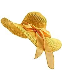 JUNGEN Floppy Chapeau Unisexe Wide Brim Chapeau De Soleil Fashion Voyage Chapeau de Plage idéal pour Vacances Nœud à Deux Boucles Dôme Jaune 1 PCS