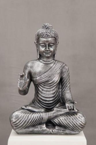 Happy Outdoor Buddha Statue (BUDDHA THAIBUDDHA SILBER EISEN OPTIK MEDITIEREN MEDITATION RUHE KRAFT GARTEN DEKO OUTDOOR FROSTSICHER)