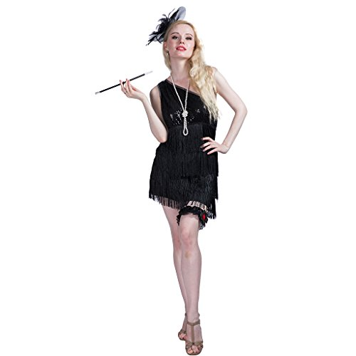 EraSpooky 20s Flapper Damen Great Gatsby Kleid Fransen Pailletten Quasten Party Kostüm