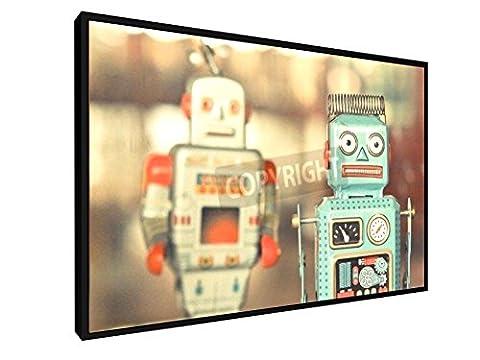 Alte klassische Roboter Spielzeug - 60x40 cm - Leinwandbild mit Schattenfugenrahmen - Wand-Bild - Kunst, Gemälde, Foto, Bild auf Leinwand mit Rahmen - Künstler