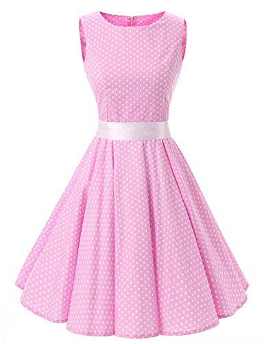 VKStar® 50er 60er Retro kleider damen mit Tupfen Abendkleid Vintage damen Rockabilly Ballkleid Rosa (Damen 60er Jahre Mode)