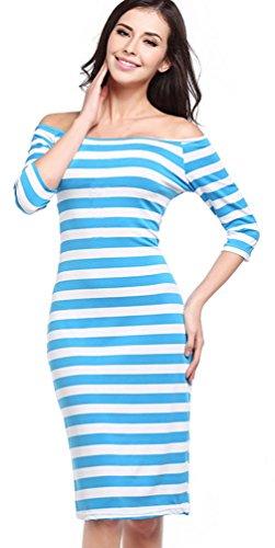 Lukis Damen Streifen Schulterfrei Sommer Kleider Oberteil Azurblau