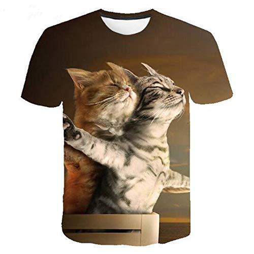 Männer Frühling Sommer Männer T-Shirts 3D Gedruckt Tier t-Shirt Kurzarm Lustige Design Casual Tops Tees Männlich,3D Digitaldruck Katze gelb 3XL Wolverine Ridge