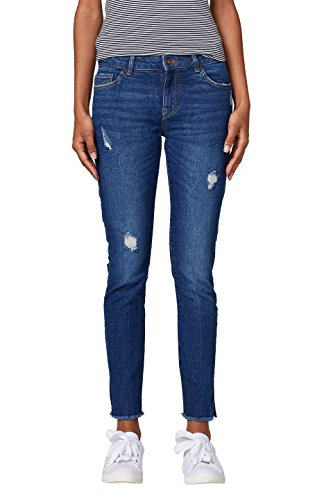 edc by ESPRIT Damen Skinny Jeans 028CC1B011, Blau (Blue Dark Wash 901), 30/32