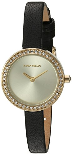 Karen Millen Women's Quartz Brass-Plated-Stainless-Steel and Leather Dress Watch, Color:Black (Model: KM146BGA)
