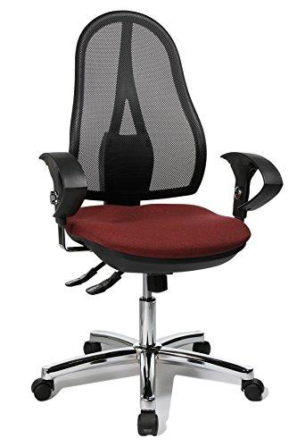 Topstar Open Point SY Deluxe, ergonomischer Syncro-Bandscheiben-Drehstuhl, Bürostuhl, Schreibtischstuhl, inkl. Armlehnen (höhenverstellbar), Stoff, bordeaux rot
