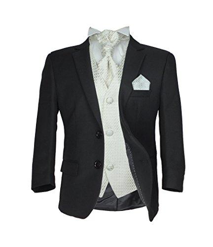 SIRRI Jungen 5 TEILE Formell Hochzeit Anzüge, Elfenbein Krawatte Abiball Seite Jungen Anzug - Schwarz & Creme, 110