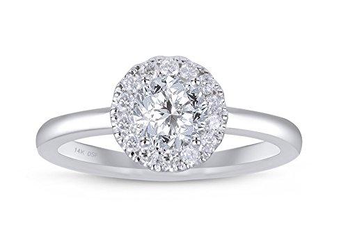 Diamond Studs Forever - Anillo de compromiso estilo halo de diamantes - GH/I1 - Oro blanco de 14K