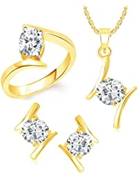 VK Jewels Solitaire Gold Plated Alloy Ring & Pendant Set Combo For Women & Girls - COMBO1396G [VKCOMBO1396G]