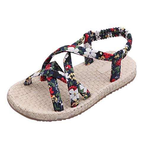 Kinder Mädchen Sandalen/OSYARD Offene Zehen Atmungsaktiv Prinzessin Schuhe Flach Kinderschuhe Boho Sandalen für Sommer Plage