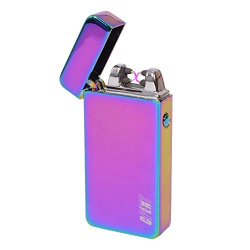 Arc leggero USB portatile ricaricabile senza fiamma elettrico sigaretta doppia X Arc antivento sigaretta del sigaro (Rainbow ice)