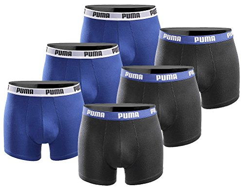 PUMA Herren Boxershort Basic Limited Black Edition 6er Pack - Black and Blue - Gr. M