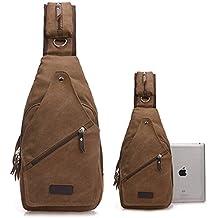 Mochila de LemonGirl para hombre y mujer, bolso bandolera para viaje, senderismo, camping o ciclismo , color café, tamaño talla única