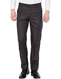 American-Elm Men Black Colour Solid Slim Fit Formal Trouser