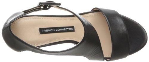 French Connection Unice Cuir Sandales Compensés Black