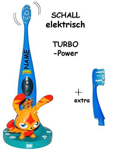 """3 tlg. Set: elektronische SCHALL Zahnbürste - """" Moshi Monsters """" - Schallzahnbürste - incl. Name - Zahnbürstenhalter & extra Bürstenkopf / Aufsatz - Kinder & Baby / Batterie betrieben - hochwertige Borsten - Kinderzahnbürste & Babyzahnbürste - Mädchen & Jungen - Katsuma Stand - zum Hinstellen / Aufstellen - Putztrainer - Zähne putzen - elektrisch Kleinkinder / Monster - Zahnbürsten / Zähneputzen lernen"""
