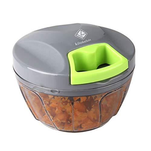 kilokelvin Mini Tritatutto Manuale,Miscelatore,Frullatore per Tagliare Frutte/Verdure/Cipolle/Salsa d'Agio/Insalata/Insalata di Cavolo/Polpettone/Salsa di Carne/Cibo per Neonati (400ML)