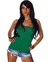 4605 Fashion4Young Damen Trägerloses Bandeau-Top mit Glitzereffekten Strass 7 Farben 2 Größen
