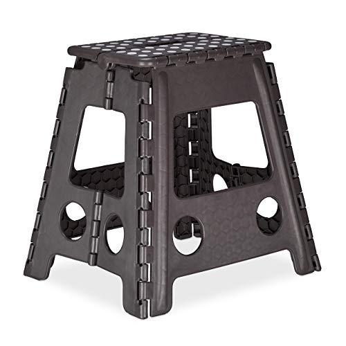 Relaxdays Klapphocker XL, tragbar, großer Badhocker, faltbarer Sitzhocker, bis 120 kg, Kunststoff, 39,5 cm hoch, grau