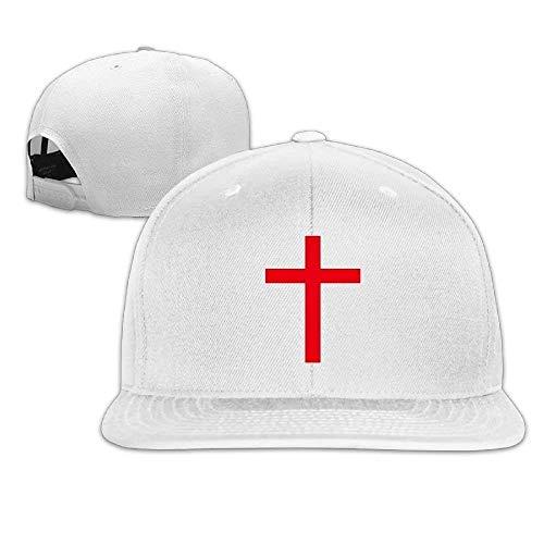 UUONLY Männer Frauen Flat Bill Hut, Christian Cross Hip-Hop Plain verstellbare Hysteresenhüte Caps (Bill-box-hüte)