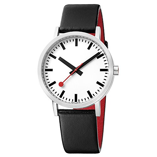 Mondaine Official Swiss Railways Watch Classic Women's/ Men's Watch Analogue Quartz with Black Leather Strap