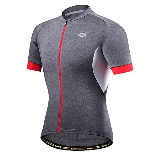 Santic Herren Radtrikot Kurzarm Bike Shirts Quick Dry Atmungsaktiv Fahrrad Tops, Herren Jungen, Grey-6301, US XX-Large - Diamant-logo-t-shirt