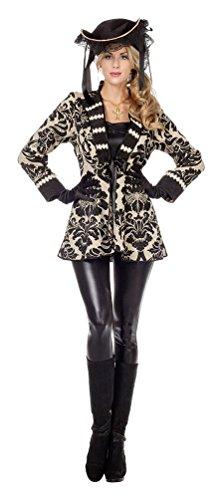Karneval-Klamotten Piratenmantel Damen Pirat Piratin Seeräuber Fluch Jacke Piraten-Mantel schwarz beige Karibik Größe 42