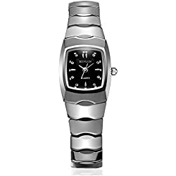 binlun Damen Vintage superdünn Japanisches Quarz-Armbanduhr mit schwarzem Zifferblatt-Silber