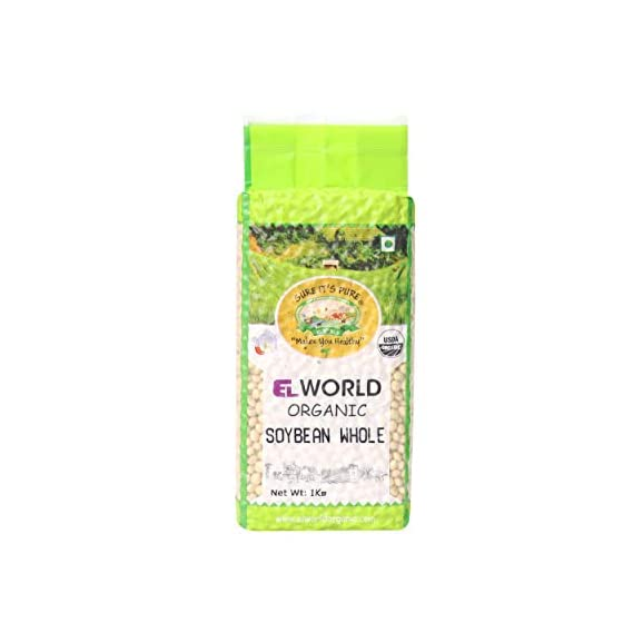 ELWORLD AGRO & ORGANIC FOOD PRODUCTS Organic Soyabean Whole, 1 Kg X 2 - Pack of 2