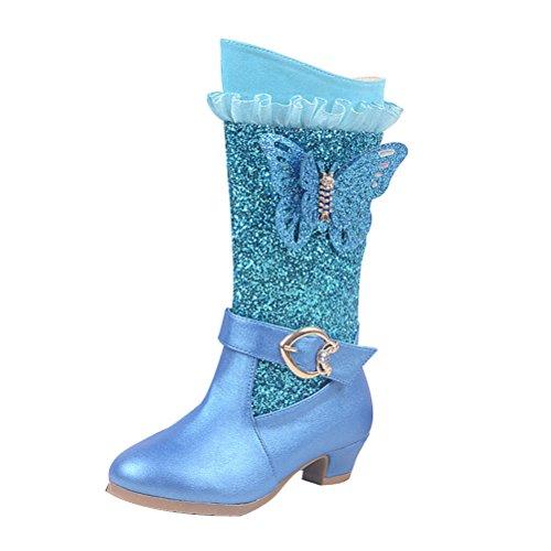 Zhuhaitf Excellent Butterfly Decor Princess Winter Long Boots Girls Kids Glitter High Heel Dark Blue