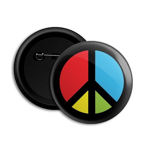Dot Badges Peace Round Button Badge, 58mm (Black)
