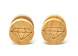 Retro Wooden Superman Cut Barbell Screw Earrings studs for Men (Pair of) 10mm