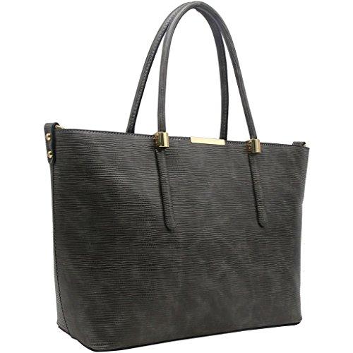CRAZYCHIC - Borsa a mano donna con piastra oro - Imitazione rigido striata pelle - Grande formato Tote shopper bag - Borsa a spalla grandi dimensioni e lunga maniglia - Moda citta Grigio