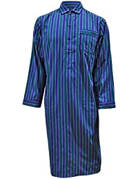 Lloyd Attree & Smith Men's Luxury Cotton Nightshirt - Blue & Green Stripe