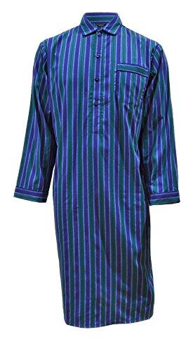 Camicia da Notte Puro Cotone Righe Blu e Verdi Uomo