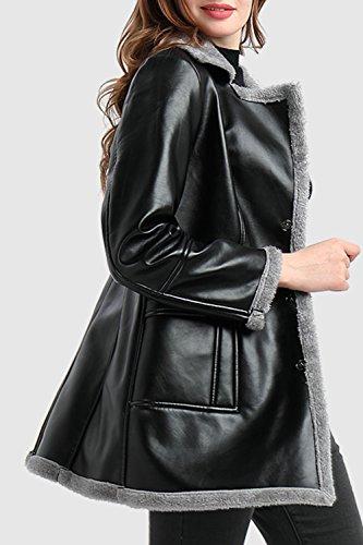 Le Donne D'inverno Spesso Occasionale Vello Pulsante Zip Moto Motociclista Vestiario Cappotti Jeckets Al Massimo Black